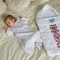 Крестильная рубашка КЛАССИЧЕСКАЯ с шапочкой для крещения мальчика или девочки, белая/молочная ТМ БАТТЕСИМО