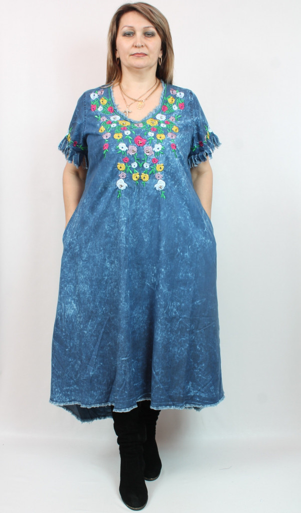 f2531376361 Джинсовое платье с вышивкой Pompadur(Турция) рр 52-64  продажа