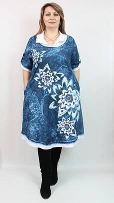 Джинсовое нарядное платье Pompadur(Турция) рр 52-64