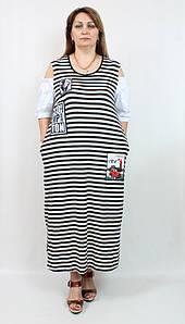 Платье в полоску с приспущенными рукавами  Darkwin(Турция) 52-64р