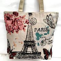 Пляжные сумки дешево оптом Китай (принт Париж)40*44