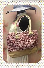 Городская стильная женская сумка с цветочным принтом