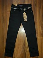 Подростковые черные котоновые брюки, р.134
