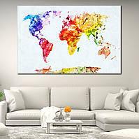 Картина - Карта мира яркими красками, для декора офиса
