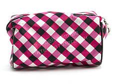 Стильная женская тканевая косметичка  art. 011 (102318) розовая в клеточку