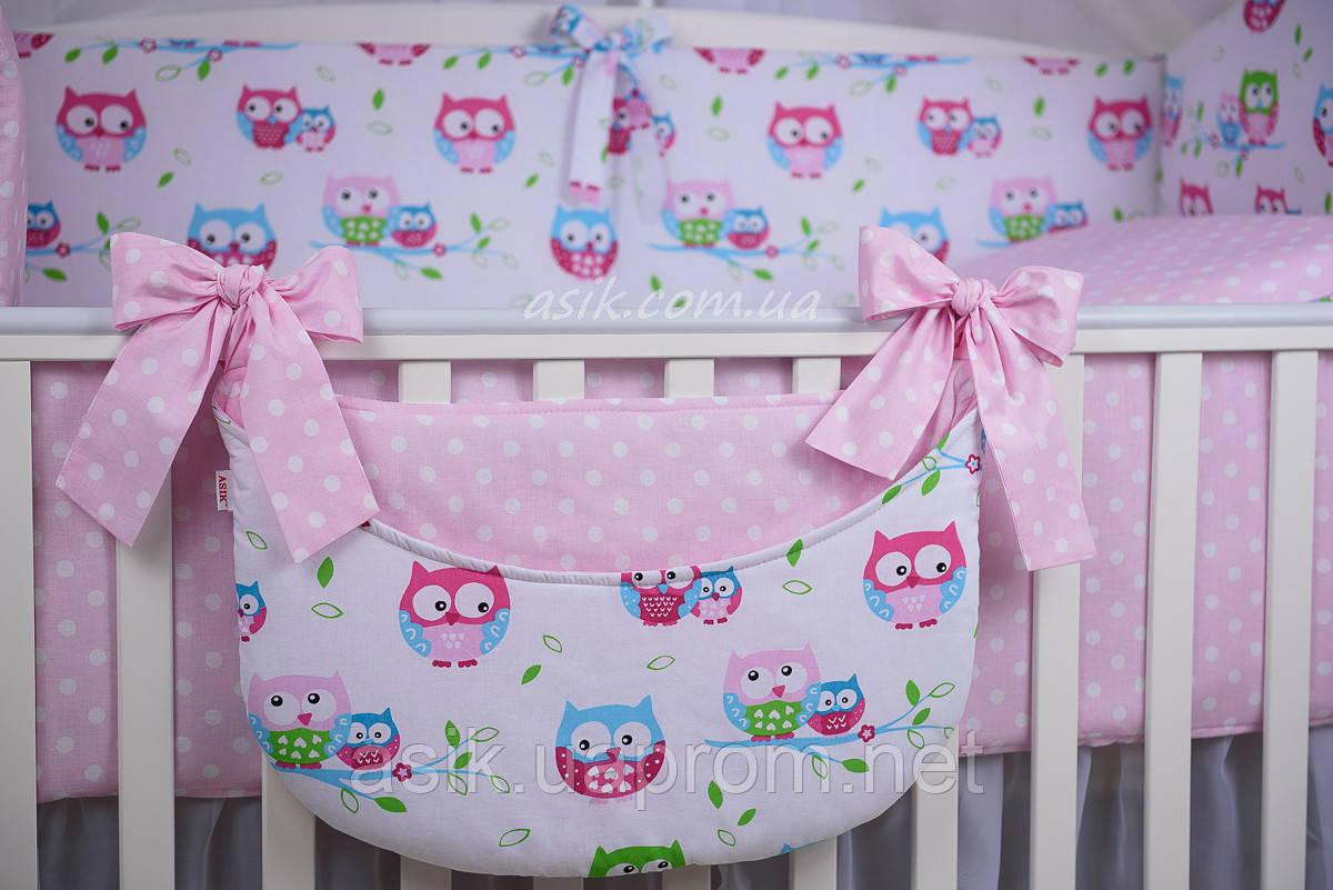 """Кишеня органайзер на дитячу ліжечко """"Сови на синій гілці"""" рожеві"""
