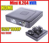 Сетевой IP видеорегистратор для 4 видеокамер видеонаблюдения DVR NVR FullHD 1080p на 4 камеры