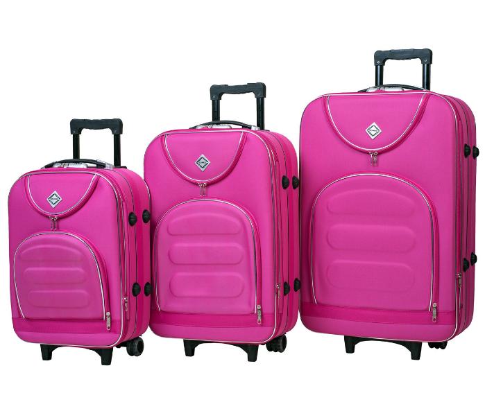 Набір валіз на колесах Bonro Lux Рожевий 3 штуки