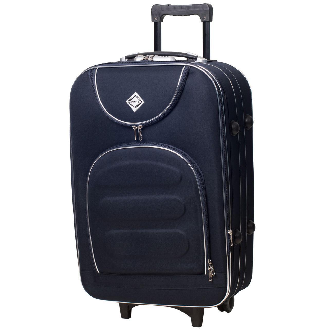 Дорожній валізу на колесах Bonro Lux Темно-синій Невеликий