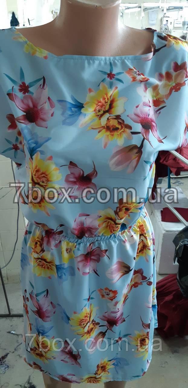 Жіноче літнє плаття. Пояс на резинці 42, 44, 46рр. Квіти на блакитному. Оптом