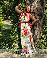 Нарядное летнее платье в пол. Ткань шелк армани. Размер , фото 1