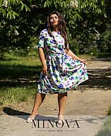 Женское платье с клешной юбкой. Размеры 48-50, 52-54, 56-58, фото 1