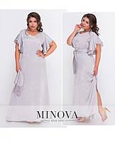 Серое платье в пол, ткань шелк кристалл. Размер 50, 52, 54, 56, фото 1