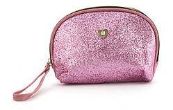 Стильная женская тканевая косметичка  art. 124 (102325) блестящая розовая