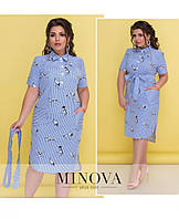 Модное летнее женское платье в расцветках с карманами больших размеров 52, 54, 56, 58, 60