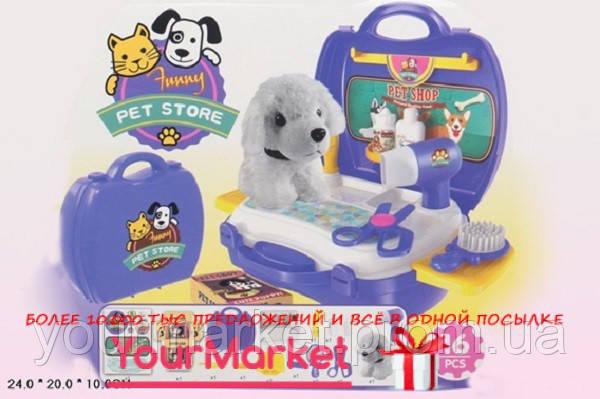 Парикмахерский набор 8357 (36шт/2) с собачкой,фен,расческа,зеркало,нож