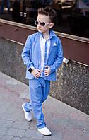 Костюм тройка 3 для мальчика, 116 - 152 см. Детский, подростковый брючный льняной костюм, лён.