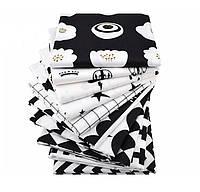 Набор тканей (Ткань) для Пэчворка Черно-белые оттенки 40x50 см 10 шт, фото 1
