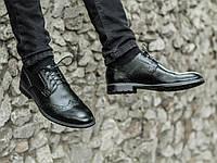 Мужские туфли броги кожаные черные классические