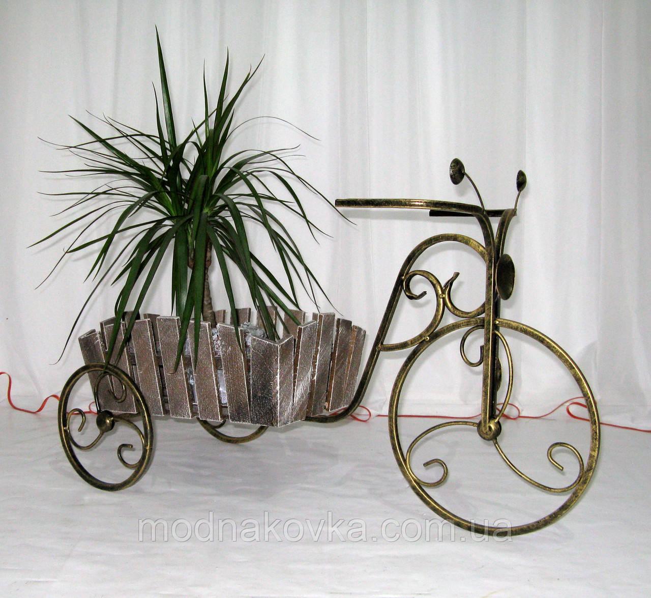 Кованая подставка для цветов Велосипед Кантри малый черный/золото