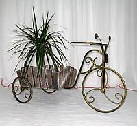 Кованая подставка для цветов Велосипед Кантри малый черный/золото, фото 1