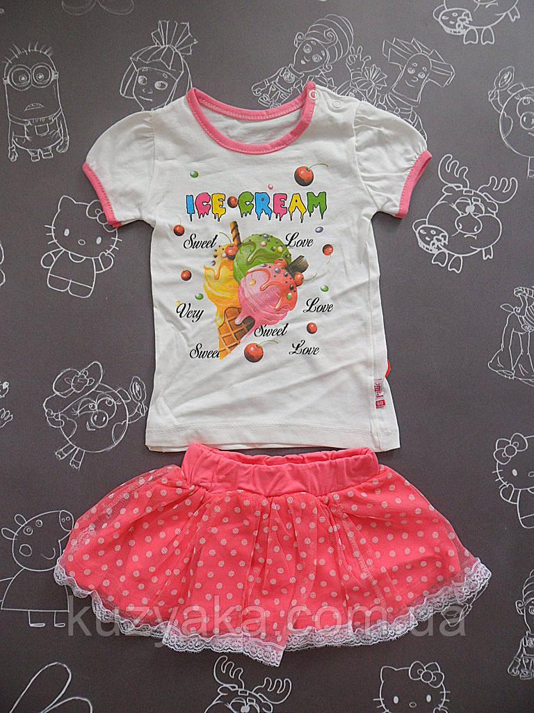Детский летний костюм с юбкой Ice Cream для девочки на 6-18 месяцев