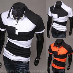 Молодежная футболка с воротником (белая) код 53