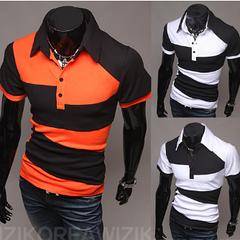 Молодежная футболка с воротником (оранжевая) код 53