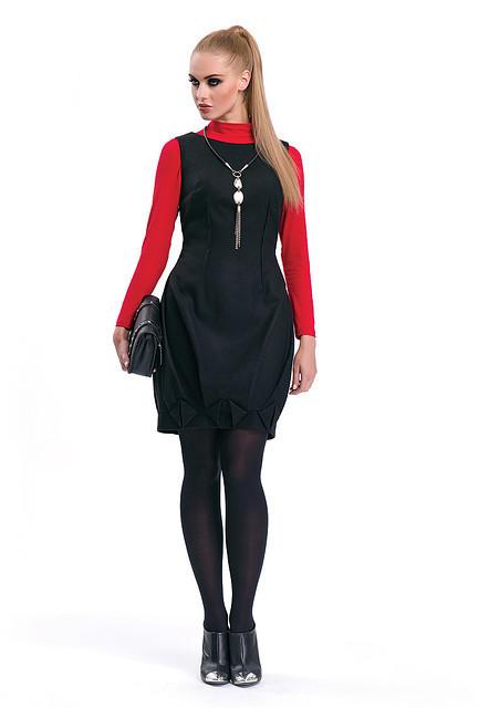 Платье-сарафан черного цвета из шерстяной ткани Syntia Zaps