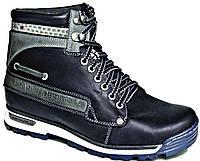 """Зимние мужские ботинки """"Max Mayar"""". Натуральный мех(Цигейка). Кожаные. Черные"""