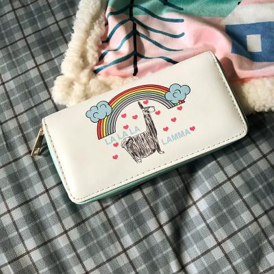 Молодежный кошелек с ламой под радугой