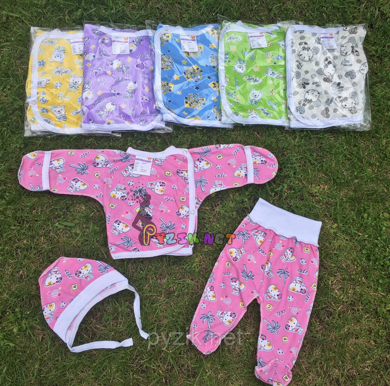 Комплект для новорожденного кулир (распашонка+ползунки+шапочка) 56-62 р-р, розовый