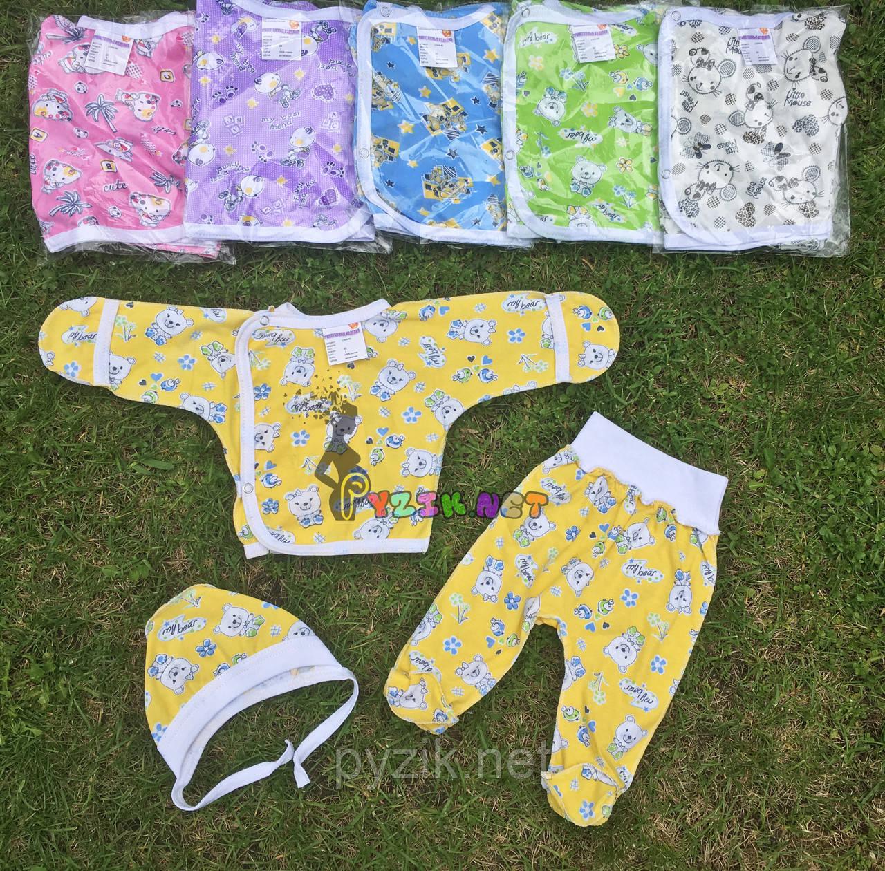 Комплект для новорожденного кулир (распашонка+ползунки+шапочка) 56-62 р-р, желтый