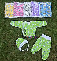 Комплект для новорожденного кулир (распашонка+ползунки+шапочка) 56-62 р-р, салатовый, фото 1