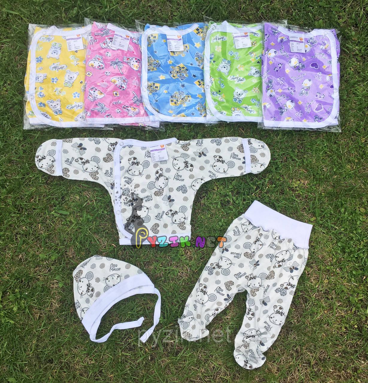 Комплект для новорожденного кулир (распашонка+ползунки+шапочка) 56-62 р-р, белый