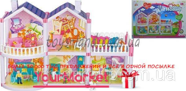 Домик  2-этаж,127деталей,фигурки,ванна,детская,кресла,диван,трюмо,балк