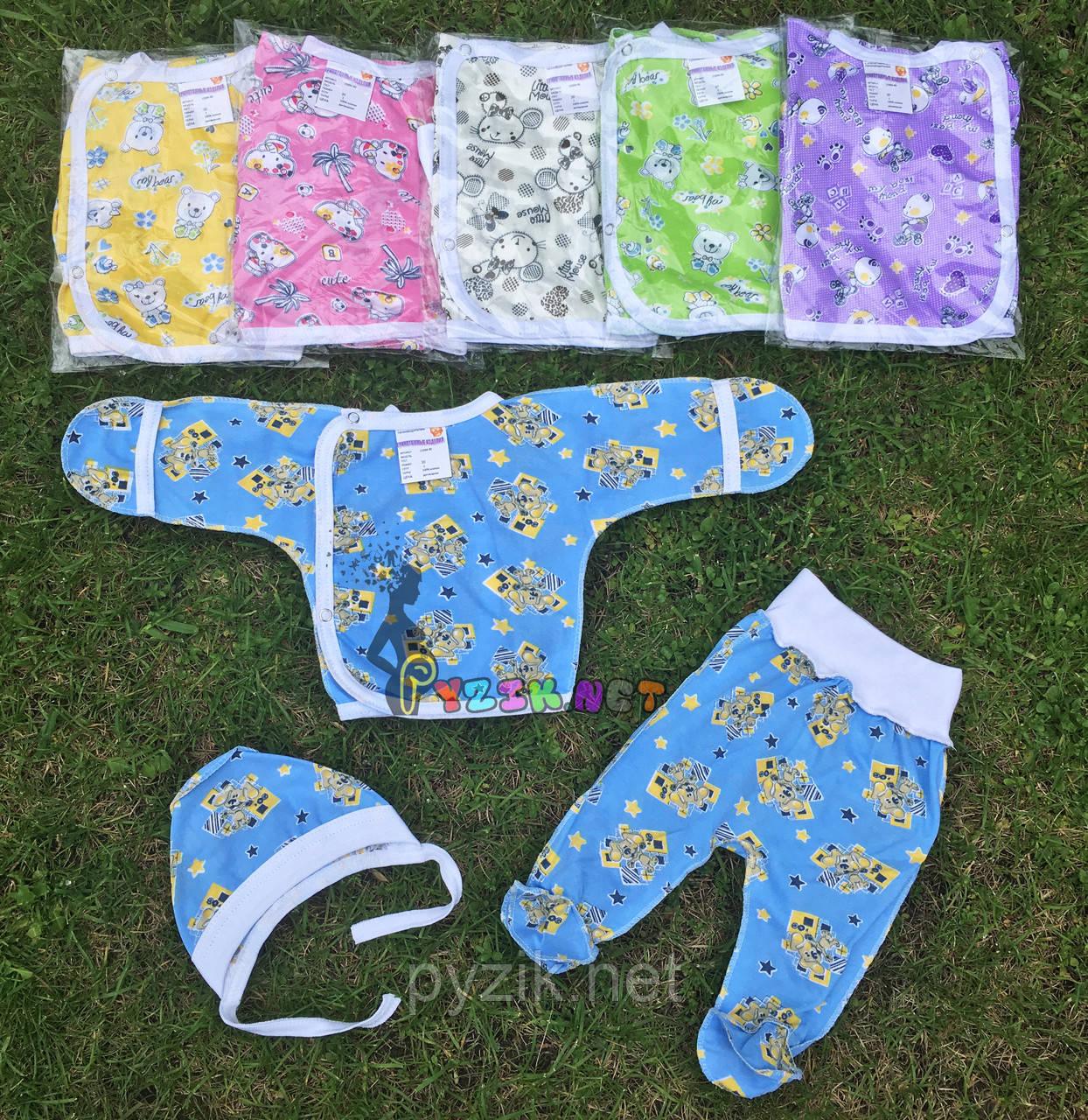 Комплект для новорожденного кулир (распашонка+ползунки+шапочка) 56-62 р-р, голубой