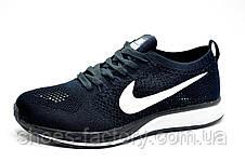Беговые кроссовки в стиле Nike Flyknit Streak, Dark blue\White, фото 2