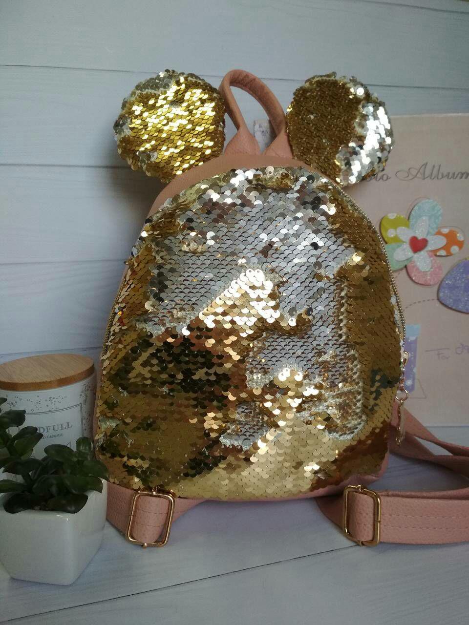 Модный рюкзак для девочки с ушками и брелком на молнии