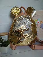 Модный рюкзак для девочки с ушками и брелком на молнии, фото 1