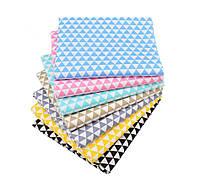 Набор тканей (Ткань) Разноцветные оттенки Треугольник для Пэчворка 40x50 см 7 шт, фото 1