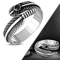 Байкерское кольцо перо с камнем 316 Steel