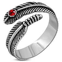 Байкерское кольцо перо с красным камнем 316 Steel