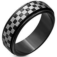Кольцо шахматы черно-белое двухцветное  316 Steel