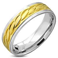 Кольцо двухцветное с золотым узором колосок 316 Steel