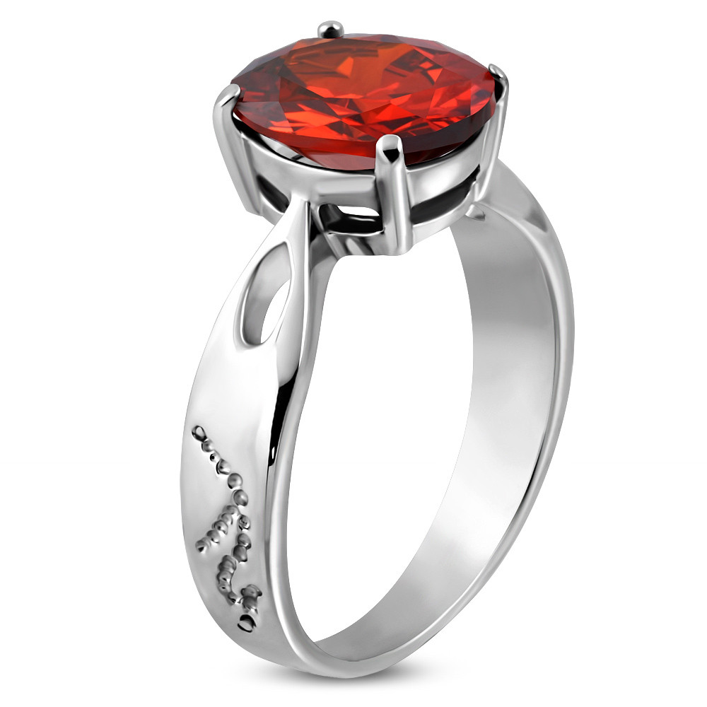 Обручальное кольцо с красным фианитом 316 Steel