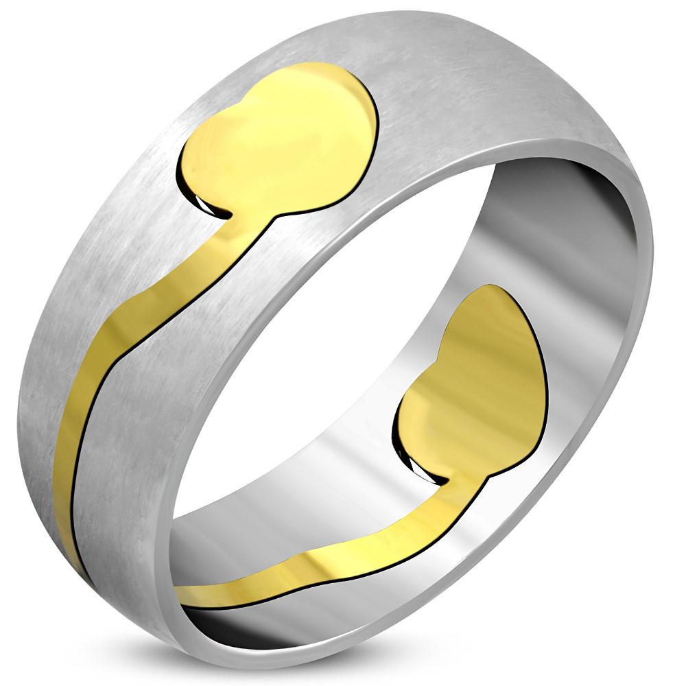 Жіноче кільце з позолоченою вставкою сердечко 316 steel