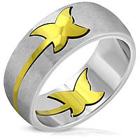 Женское кольцо с позолоченной вставкой бабочка 316 steel
