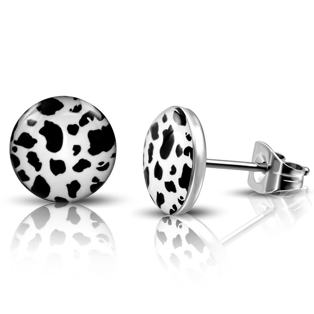 Сережки гвоздики чорно-білий леопард 316 Steel