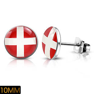 Сережки гвоздики прапор Швейцарії 316 Steel